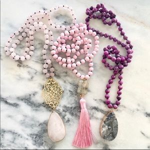 SALE stone pink pendant necklaces